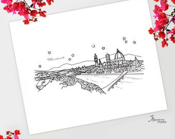 Florence, Italy - Europe - Instant Download Printable Art - City Skyline Series