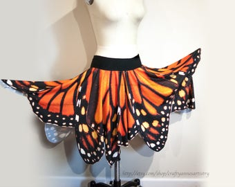 Monarch Butterfly Wing Skirt - Full Circle Skirt, For Halloween Costume or Renaissance Festival Perusing