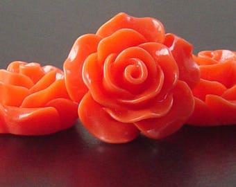 Cabochon Resin Flower 4 Resin Round Rose Flower Orange 20mm x 9mm (1019cab20m4-14)