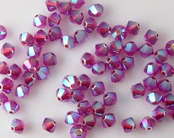 Grab Bag 69 Swarovski Crystal Bead Pink 5328 4mm Fuchsia AB 2X (251grab)