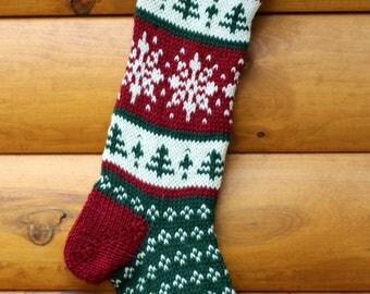 Knit Christmas Stocking Snowflake - Handmade & Ready to Ship!