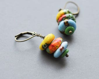 Festive recycled multicolored glass bead stack earrings