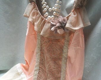 36% OFF Closet Cleaning TUNIC Top Tank Whimsical Ethereal Romantic Fairylike Boho Chiffon Glamgirl - Peach, Taupe and Ivory