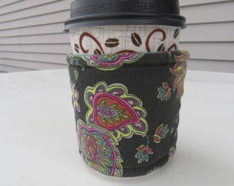 Handmade Coffee Cozy or Sleeve, Coffee Sleeve, Cup Sleeve, Flowers and Paisley