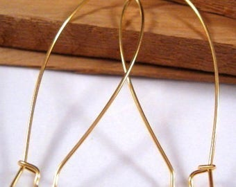 Gold Plated Stainless Steel 47x 21mm Jumbo Kidney Ear Wires - 12 Count