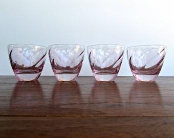 Vintage Modern Cristal D'Arques Ombre Pink-Swirl Optic, Set of 4 Flat Campari Glasses