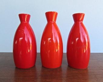 Trio of Vintage Cadmium Light Red & White Porcelain Sake Bottle, Modern Design Japan