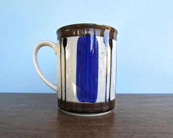 Gorgeous Otagiri Mug in Classic Danish Color and Style, Speckled Grey w/ Cobalt-Blue and Tenmoku Brown