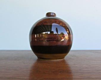 Otagiri OMC Originals Handmade Vintage Japan Stoneware Weed Pot - Bud Vase w/ Tenmoku Glaze