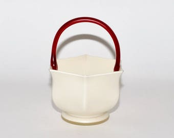 Vintage Murano Italy White & Red Satin Frosted Glass Hand Blown Basket