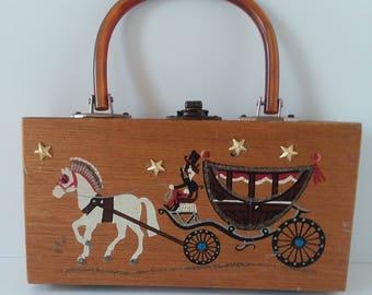 Vintage gary gail Dallas Tx. Collector Wood Box Purse Horse Carriage