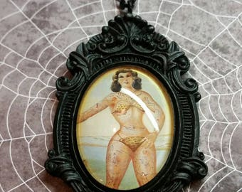 Tattooed Lady Side Show Vintage Circus necklace