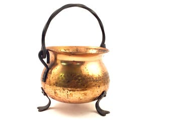 COPPER CAULDRON or Planter Copper Round  Pot With Black Legs and Handle Aged Patina