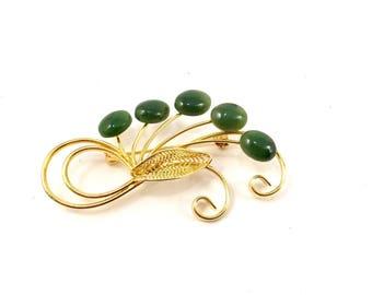 Jade stone Vintage JADE Brooch Gold Toned Jade Brooch with Navette Jade Flowers on Beautiful Gold Filigree Leaves