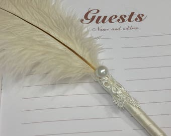 Ostrich Feather, Lace and Pearl Guest Book Pen in IVORY, BLACK or WHITE