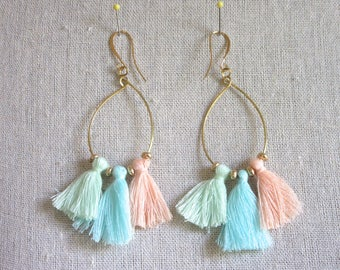 Pastel Colorful Tassel Hoop Earrings
