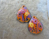 Purple and Orange Copper Torch and Kiln Fired Enameled 1 pair Charms Earring components Whimsical SusieDesigns