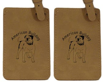 American Bulldog Standing Luggage Tag 2 Pack L1183 - Free Shipping