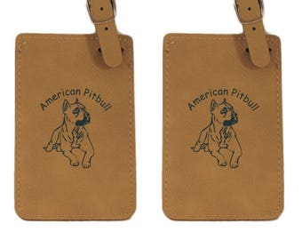 L1249 American Pitbull Laying 2 Luggage Tag 2 Pack -Free Shipping