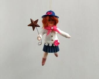 Spun Cotton Ornament, Cotton batting doll, Americana girl, Plumpuppets