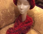 Red hand-knitted scarf and hat in acrylic novelty yarns (sku #2017-1Q)