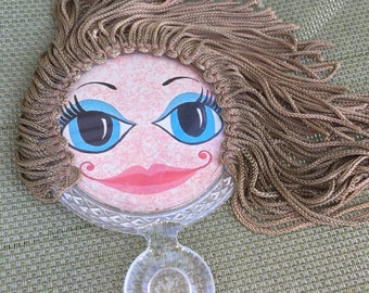 1960s VV's Girl With Fringe Hair Handheld Mirror