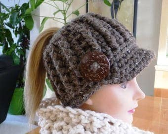 Taupe Messy Bun Ponytail Newsboy Hat Ready to Ship