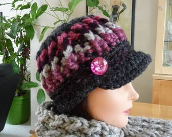Pinks and Charcoal Newsboy Hat Ready to Ship