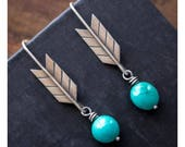 CUSTOM ORDER for Stacia ~ rustic sterling silver and turquoise arrow earrings