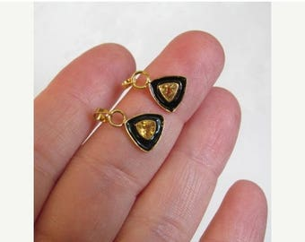 SALE 20% Off AAA Citrine Trillion Enamel Vermeil Charm Finding, QTY2, Italian Made ,Solid Sterling Silver Gold Vermeil, Black Enamel Pendant