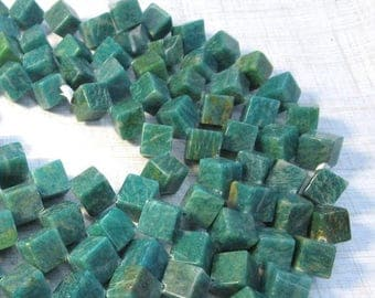 SALE 20% Off Natural Russian Amazonite Cube Square Beads 12mm, Natural blue Green gemstone