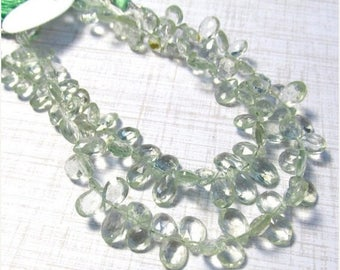 20% Off OUT Of TOWN SALE Green Amethyst Briolette Beads 7mm 8mm 10mm, Prasiolite Gemstone Beads 8 Inches
