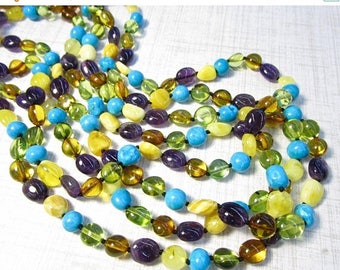 20% OFF SALE Rare Green Amber Turquoise Beads Necklace Amethyst 20 Inches,  Russian Gemstone Campitos Turquoise , #55n