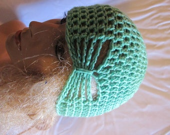 Spearmint Sparkle Butterfly Stitch Accent Beanie/Turban