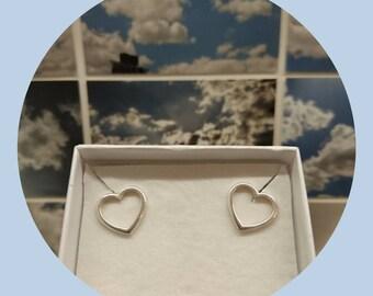 Open Heart Studs, Love Heart Earrings sterling silver