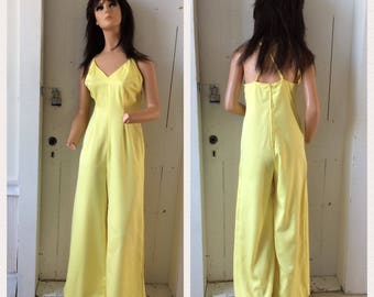 1960s Mod 2 pc Jumpsuit with over Dress Tunic Ribbonwork Sunny Yellow Cowl Neck Low Back Elephant Wide Legs Size Medium Large