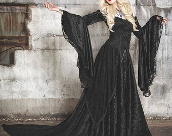 Gothic Or Halloween Wedding Gown Lady Gwen Lace Up Fantasy Fairy Medieval Velvet and Lace Gown Custom