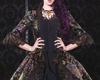 Black and Gold Metallic Brocade Gothic Ballgown Fantasy Marie Antoinette Gown Medium