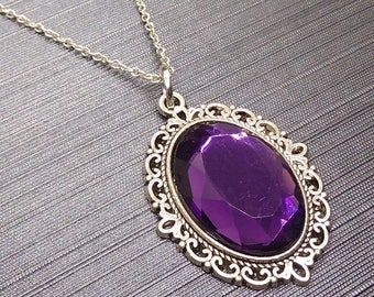 Purple Faceted Stone necklace