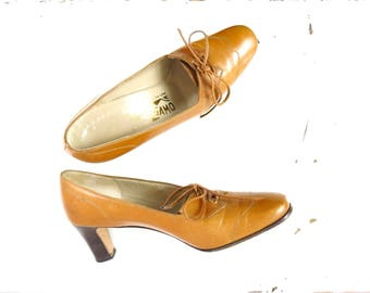 Vintage Italian Leather Shoes | Ferragamo Tan Leather Shoes Size 6