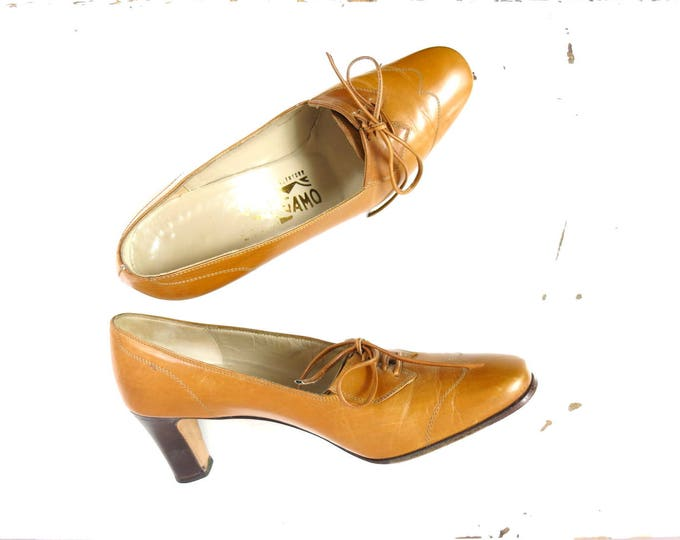 Vintage Italian Leather Shoes | Ferragamo Tan Leather Shoes Size 6