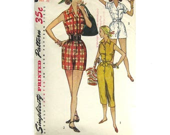 1950s Simplicity 4337 Misses Jumpsuit Coveralls Romper Playsuit Pattern / Pedal Pushers / Womens Vintage Sewing Pattern / Size 14 Bust 32