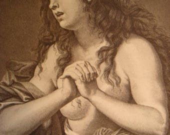 The Repentant Magdalene print 1880's by Charles Cignani artist