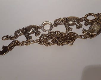 Vintage Gold tone 3 ELEPHANT belt with adjustable chain
