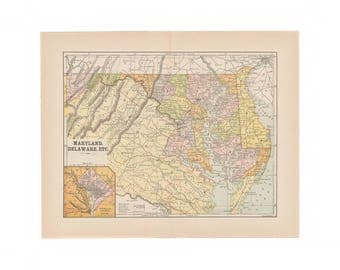 Vintage Delaware Map Etsy - Delaware on the us map
