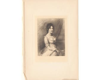 """Original antique print of Dolly Madison from 1902 book """"Romances of Early America"""" - Free US Shipping"""