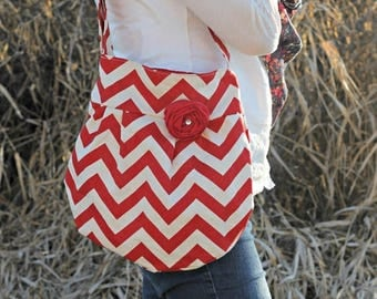 ON SALE Red Chevron Bag, Zig Zag Cross Body Handbag with Red Flower, Red Chevron Hipster Bag, Fashion Bag, Hipster Hobo Style Pleated Handba
