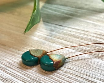 Teal Ceramic and Copper Electroformed Headpins