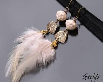 Nudée - boucles d'oreille plume, laiton embossé et perles céramiques - Nude - Style Bohême - bo gaelys