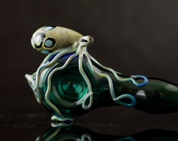 Large Octopus Pipe / Octopus Glass Pipe / American Made Glass / Hand Blown / Glass Spoon / Lake Green & Silver Amethyst / Ready to Ship #514